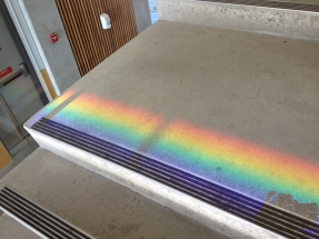 Rainbow on the stairs!